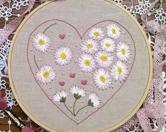 hand embroidery kit, embroidery kit, daisies embroidery, diy embroidery kit, embroidery pattern, modern embroidery kit, craft kit