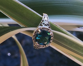 Edwardian Jewelry , Vintage 2Cts Emerald Quartz Victorian Ring, Genuine 925 Solid Sterling Silver Filigree Ring Size 9