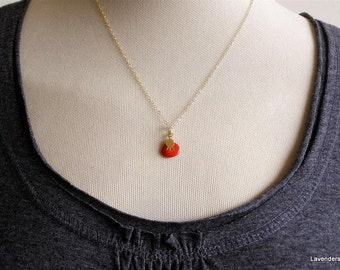 Pomegranate Necklace , Gold Pomegranate Charm , Red Coral Necklace,  Gold Fill , Fertility , Modern , Everyday Jewelry