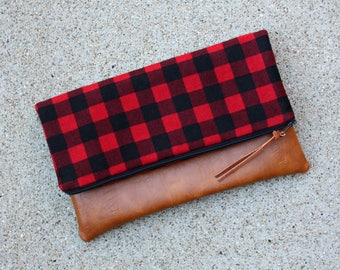Buffalo Plaid in Red and Black Checks Clutch / Kindle Case