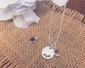 Sterling Silver 12mm Disc Handstamped Necklace | Wedding | Birthday | Gift