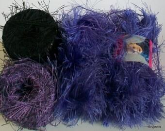 FREE GIFT with 2 Skeins Lion Brand  Fun Fur Eyelash Yarn Violet Purple - destash by foxygknits