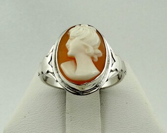 Vintage Sterling Silver Cameo Ring FREE SHIPPING! #CAMEO1-SR8