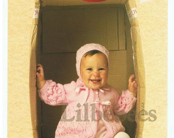 Baby Knitting Pattern - pdf download - Matinee Jacket and Bonnet to fit sizes 40, 45,50 cm chest, 4 ply yarn