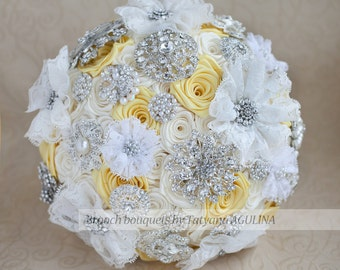 Brooch bouquet. Yellow, Ivory and Gray wedding brooch bouquet
