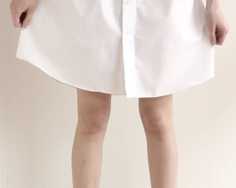 Bright White Button Down Women's Skirt from Men's Dress Shirt - Upcycled skirt, womens skirt, knee length skirt