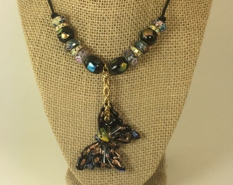 LAMPWORK GLASS PENDENT Butterfly Necklace, Murano Glass Bead Necklace, Pendent Necklace