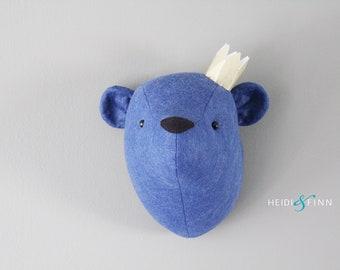 Teddy Bear Faux Taxidermy wall decor bear head room nursery blue denim navy bear art