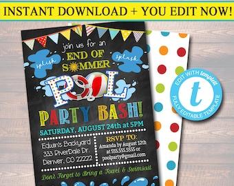 EDITABLE End of Summer Pool Party Invitation, Printable Digital Invite, Back to School, Backyard Party, Splish Splash, chalkboard invite