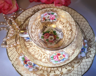 1 Trio~~Exquisite and Rare Grosvenor China Trio made in England heavy lattice and gold gilding Collectible