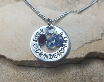 Mother's Necklace- Personalized Hand Stamped With Birthstones Mom Gift Mother's Day
