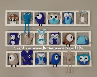 Trendy Deco, nursery wall frames, figurines, tones, blue, turquoise beige taupe, birthday gift