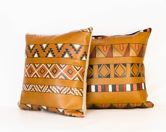 Destino Pillow 2 Versions- VOZ x YWH Collabo/ Hand Painted Leather and Linen Pillow/ Southwestern Inspired/ 2 Geometric Patterns