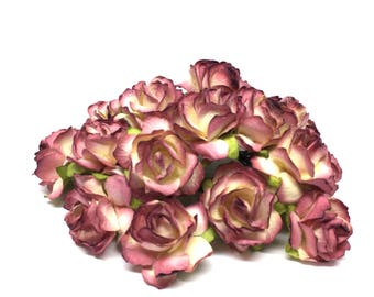 Burgundy And Cream Classic Mulberry Paper Roses Cr037