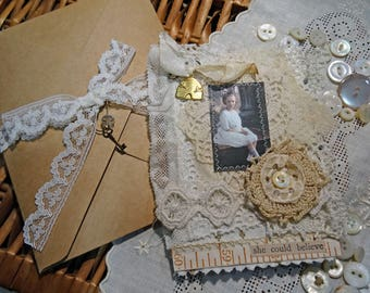 Fabric and Lace Altered Mini Notebook or Pocket Journal - sitting pretty - NO36