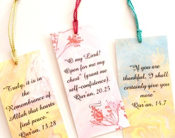 Set of five book marks (or page marker) With Quranic reminder. Watercolor bookmark, Islamic Gift ew Muslim Gift