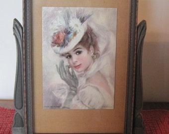 Tilting Wood Frame, Vintage tilting frame, Tilting frame with glass