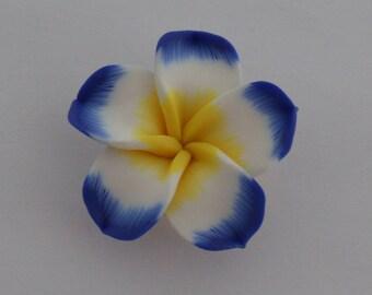 2 beads pressed 34x11mm end dark blue white yellow - Ref: PF 700