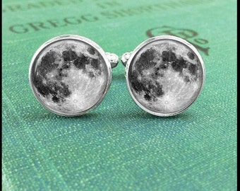 Moon Cufflinks, Full Moon Cufflinks, Moon Cuff LInks, Astronomy Cufflinks, Solar System Cufflinks, Gift for Scientist, Gift for Husband