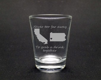 Best Friends Shot Glass - Best Friends Gift - Long Distance Friends Gift - Long Distance Love Gift