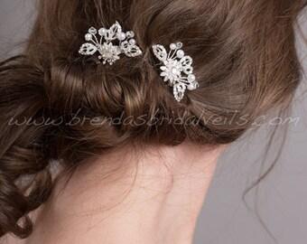 Rhinestone and Pearl Bridal Hair Combs, Wedding Headpiece - Erika