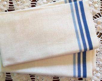 Vintage Kitchen Towels - Blue Stripes on Natural - Martex - Set of 2 - New Old Stock- Unused