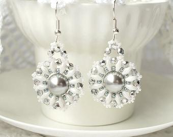Bridal earrings pearl earrings beaded earrings with Swarovski pearl swarovski earrings long earrings beadwork earrings white silver earrings