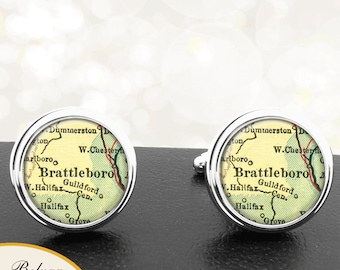 Map Cufflinks Brattleboro VT Cuff Links State of Vermont for Groomsmen Wedding Party Fathers Dads Men