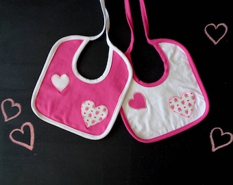Set of two bibs, pink white heart applique, strawberry baby shower, coordinated bibs, strawberry outfit, newborn girl, princess baby shower