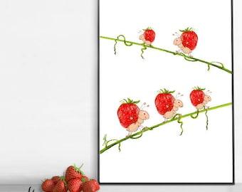 Strawberry Art Print - Strawberry Poster - Strawberry Gift - Strawberry Decor/Room Wall Art