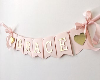 Personalized Name Banner Girl 1 st Birthday Banner Blush Rose Gold Birthday Party Decoration Baby Shower Photo Shoot Prop Custom Baby Banner