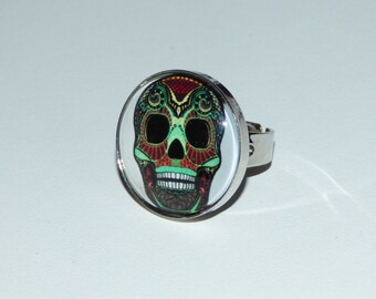 OOAK glass cabochon 25 mm ring