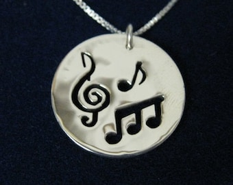 G Clef & Music Note necklace, made from US Silver Quarter