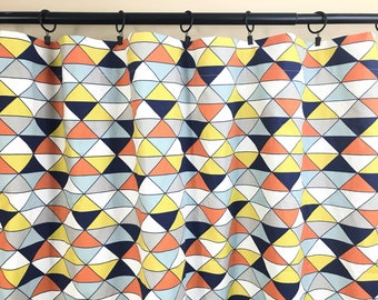 Maya Dimensions Triangle. Orange Curtains. Orange, Navy, Blue and Yellow Curtain Panels. All Sizes. Decorative Window Treatments. Drapery.