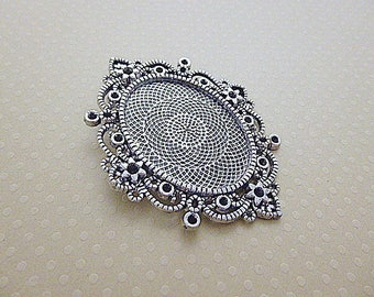 Aged to cab silver pendant. oval 30x40mm - SCABOB3040 9976