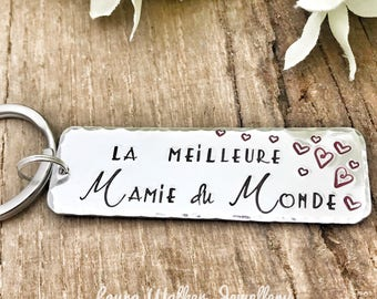 Personalised French Grand-Mère Keyring, Custom Keyring Grandma