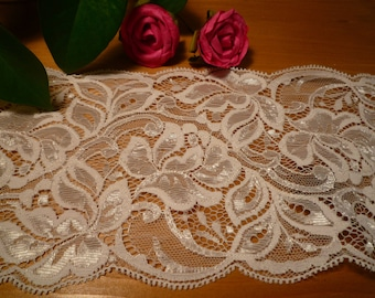 Beautiful pale pink sheer lace 11 cm wide