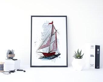 Boat Decor, Boat Art, Boat Painting, Ship Print, Boat Print, Boat Wall Art, Printable Nursery Art, Nautical Gifts, Nautical Nursery Art