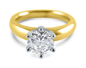 Moissanite Engagement Ring  gold 6 prong yellow Gold heavy band- Forever One Moissanite Engagement Ring - moissanite engagement ring
