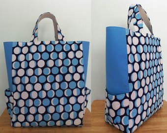 Blue Tote Bag with Pockets, Moon Phases, Fun Tote, Astronomy Gift, Market Bag, Carry All Bag, Reusable, Lizzy House Constellations