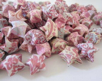 125 Large Antique Coral Mint Origami Stars