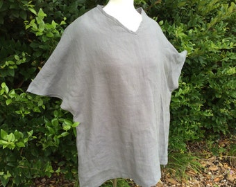 Grey linen top caftan, linen blouse, women plus size clothing, trendy plus size clothing, women plus size top, ready to ship