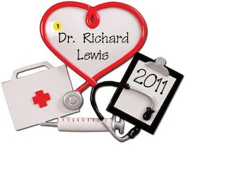 Personalized Christmas Ornaments-Scrubs- Doctor, Healthcare Professional, Hospital Technician gift