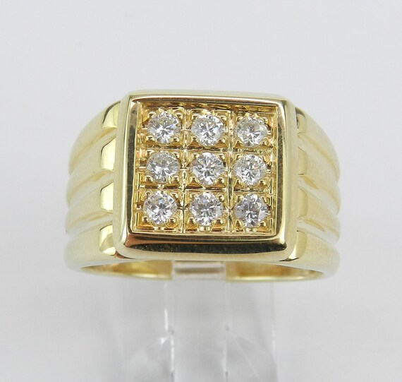 Mens Cluster Diamond Engagement Ring Pinky Anniversary Band 14K Yellow Gold Size 10.25