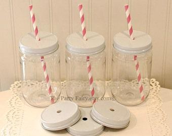 Plastic Mason Jars, 10 Plastic Mason Jars w/ Metal Lid with Straw Hole, MasoN Jar Cups, Mason Jar Favors, Party Favor, Baby Shower Favor