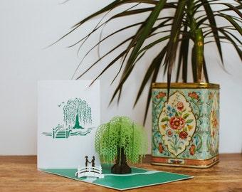 Willow Tree Love Scene Pop Up Card, Lesbian Wedding Card, Gay Valentine's Day Card, Lesbian Anniversary Card, Same Sex Wedding Card,Lovepop