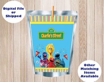 SHIPPED  PRINTED Sesame Street Elmo Big Bird Cookie Monster Personalized Capri Sun Juice Label, Birthday Party, Party Favor, DIY