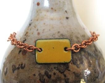 Yellow Bracelet, Enamel Bracelet, Enameled Copper, Copper Chain, Chain Bracelet, Yellow Rectangle, Geometric Jewelry, Copper Bracelet