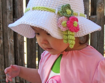 CROCHET PATTERN - Spring Garden - a crochet spring hat pattern, summer hat, easter hat in 6 sizes (Infant - Adult S) - Instant PDF Download
