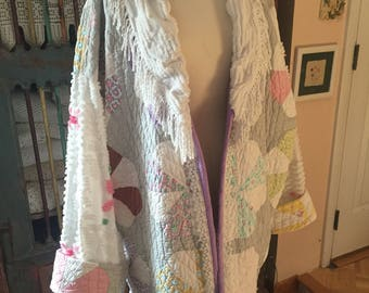 Extra large upcycled quilt and chenille coat